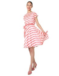 Isaac Mizrahi Coral Stripe Tie Waist Dress