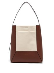 Marni Medium Cracked Leather And Canvas Tote Bag Brown White