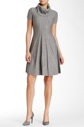 Eliza J Short Sleeve Cowl Neck Fit And Flare Sweater Dress Gray