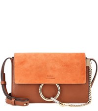 Chloe Faye Small Suede And Leather Shoulder Bag Brown