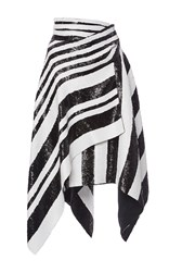 Proenza Schouler Striped Sequin Asymmetrical Wrap Skirt Black White