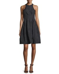Halston Paneled Jacquard Fit And Flare Cocktail Dress Black