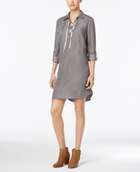 Styleandco. Style Co. Lace Up Denim Dress Only At Macy's Grey Wash