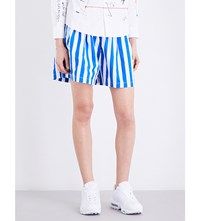 Chocoolate Striped Wide High Rise Cotton Shorts Blue