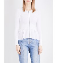 Sandro Lace Pattern Knitted Cardigan White