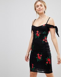Girls On Film Embroidered Bardot Dress Red Emb