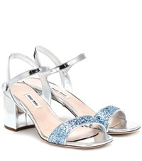 Miu Miu Exclusive To Mytheresa Metallic Patent Leather Sandals