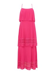 Biba Tiered Lace Pleat Maxi Dress Pink