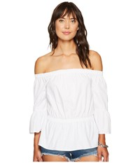 Kensie Oxford Shirting Off Shoulder Top Ks6u4107 White Women's Clothing