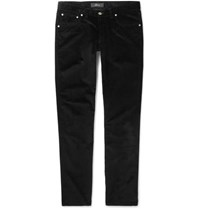 Brioni Slim Fit Stretch Cotton Corduroy Trousers Black