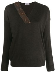 Brunello Cucinelli Sequinned Detail Knitted Jumper Grey