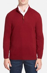 Men's Big And Tall Nordstrom Regular Fit Cashmere Quarter Zip Pullover Red Rosewood