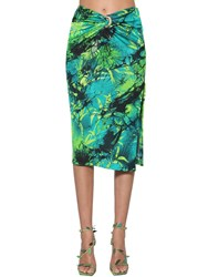 Versace Jungle Print Viscose Crepe Midi Skirt Blue