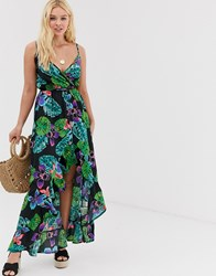 Influence High Low Maxi Dress In Tropical Floral Print Multi