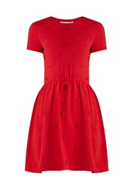 Valentino Floral Applique Knitted Dress Red