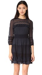 Rebecca Taylor Long Sleeve Dress Dark Navy