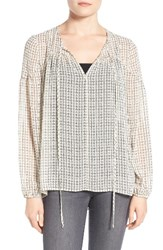 Gibson Women's Sheer Peasant Blouse Ivory Black Check