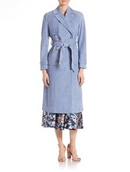 Lk Bennett Riley Suede Trench Coat Persian Blue