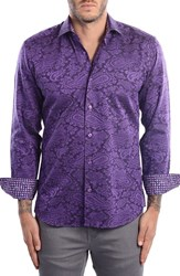 Bertigo Men's Paisley Modern Fit Sport Shirt Purple