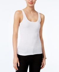 Armani Exchange Ribbed Tank Top Solid White