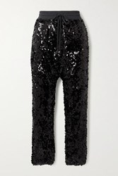 R 13 R13 Sequined Cotton Jersey Track Pants Black
