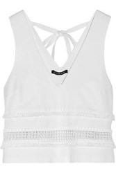 Marissa Webb Woman Marvin Guipure Lace Trimmed Stretch Cady Top White