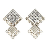 Lanvin Gold And Silver Crystal Clip On Earrings