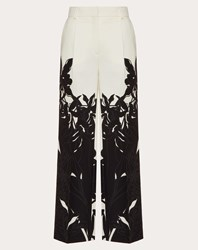 Valentino Printed Crepe Couture Trousers Ivory Black Virgin Wool 65 Elastane 35 Ivory Black