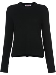 Organic By John Patrick Cropped Crew Neck Sweater Cashmere Merino Black