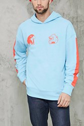 Forever 21 Eagle And Dragon Hoodie Light Blue Coral