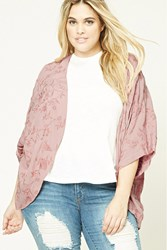 Forever 21 Plus Size Embroidered Kimono Pink