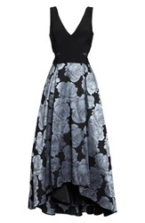 Xscape Evenings Women's Jersey And Brocade High Low Gown Black Grey