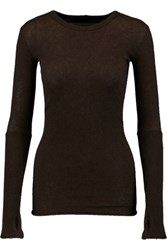 Enza Costa Rib Paneled Cotton And Cashmere Blend Top Dark Brown