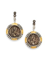 Coomi Silver Coin Diamond 20K Yellow Gold And Sterling Silver Drop Earrings Antique Gold