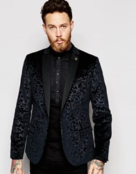Noose And Monkey Velvet Blazer With Floral Embossing In Skinny Fit Black