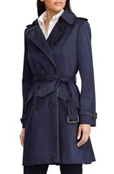 Lauren Ralph Lauren Double Breasted Short Trench Coat Dark Navy