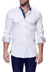 Maceoo Pointsec Stripe Long Sleeve Trim Fit Shirt Big And Tall Available White
