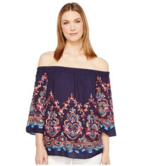 Karen Kane Embroidered Off The Shoulder Top Navy Women's Clothing