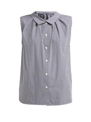 Chimala Gingham Sleeveless Cotton Poplin Shirt Black White