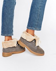 Blink Crepe Faux Fur Lined Boots Grey