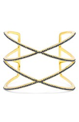 Women's Baublebar 'Double Helix' Pave Cuff Navy Gold
