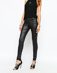 Noisy May Fame Coated Skinny Jeans With Zip Pockets Black
