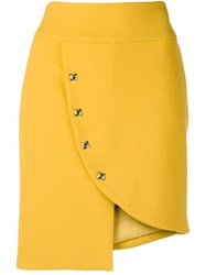 Genny Fitted Button Skirt Yellow And Orange