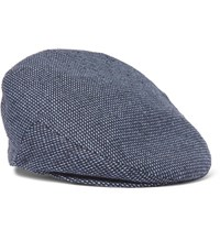 Lock And Co Hatters Glen Silk Jacquard Flat Cap Navy