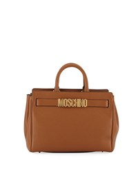 Moschino Pebbled Leather Satchel Bag Brown