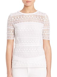 Elie Tahari Diondra Floral Lace Blouse Optic White