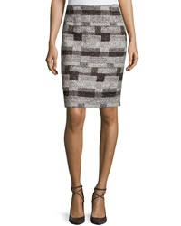 Oscar De La Renta Tweed Pencil Skirt Black White