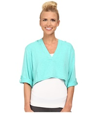 Lole Peppermint Top Turquoise Women's Long Sleeve Pullover Blue