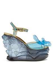 Miu Miu Vinyl Flower Plexiglass Wedge Sandals Blue Multi
