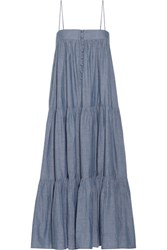 Apiece Apart Tangiers Tiered Cotton Chambray Midi Dress Blue